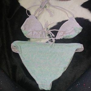 saucy moonchild fashion house Swim - Reversible double string mint / lavender bikini